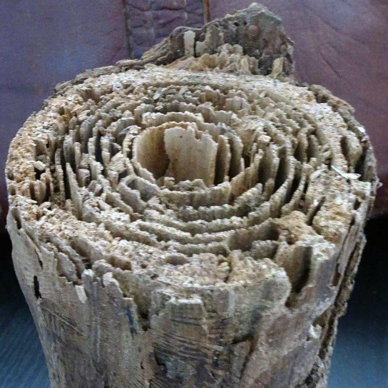 Poteau de bois dégradé